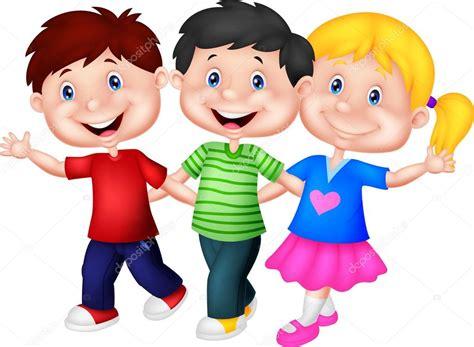 imagenes de niños felices animados dibujos animados de ni 241 os felices caminando juntos