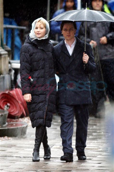 james mcavoy and jennifer lawrence x men first class photos with james mcavoy and jennifer