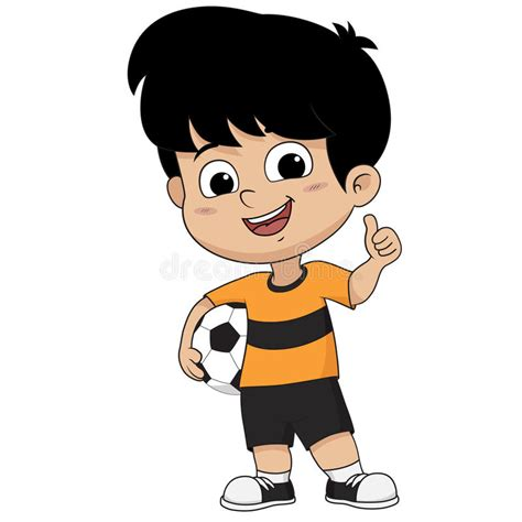 clipart bambino bambino di calcio fumetto come la posa illustrazione