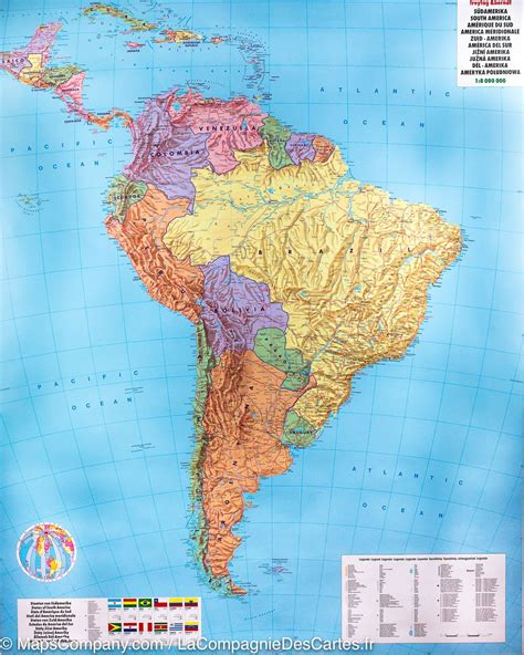 south america physical political map wall map of south america political and physical