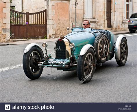 vintage bugatti old bugatti type 35 sports car on public road france