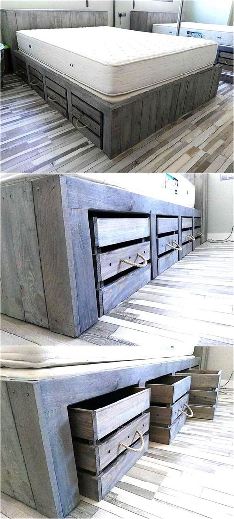 pallet bed with storage best 25 pallet beds ideas only on pinterest palette bed