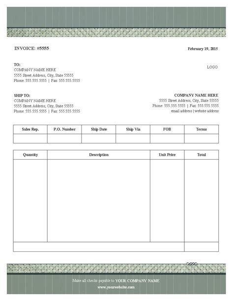 blank printable invoice template photo blank service invoice template images