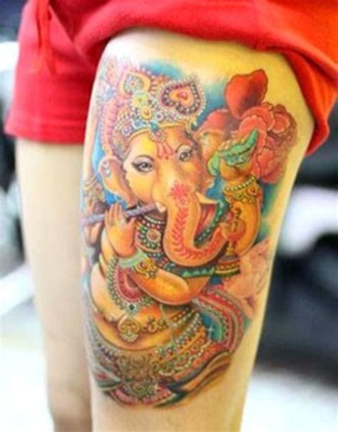 ganesh tattoo traditional beautiful color ink ganesha tattoo on left thigh