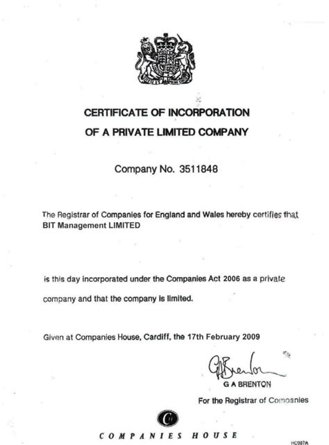 Sle Certificate Incorporation Image Collections Certificate Design And Template Certificate Of Incorporation Template Word