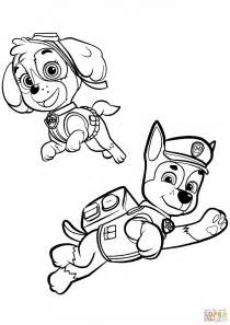 coloring pages of chase from paw patrol chase and skye coloring page free printable coloring pages