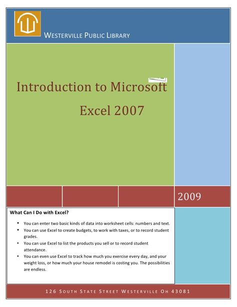 Letter Of Introduction Library Exle Intro To Microsoft Excel 2007