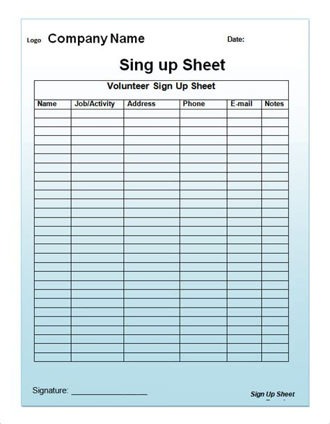 template for sign up sheet search results for sign up sheet editable