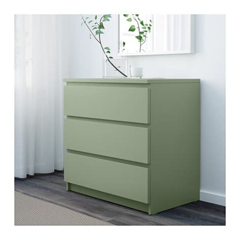 malm chest of 3 drawers light green 80x78 cm ikea