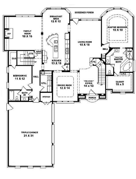 3 bedroom double story house plans 654028 two story 4 bedroom 3 bath french style house plan house plans floor