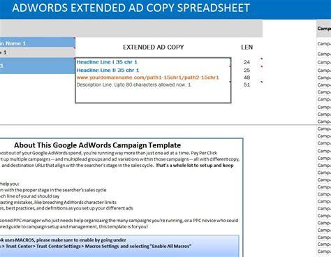 Adwords Extended Ad Copy Spreadsheet Adwords Template
