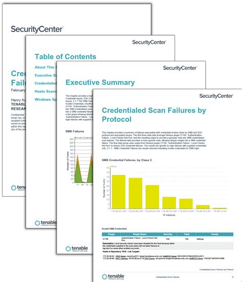 scan report template credentialed scan failures sc report template tenable