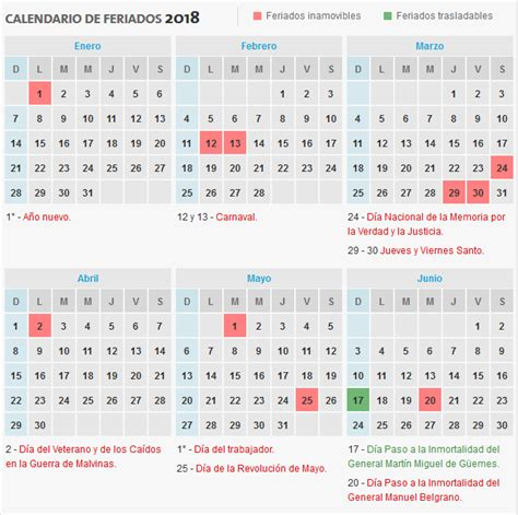 Calendario Feriados 2018 Feriados Y Fin De Semana Largo En 2018 Transito Argentina