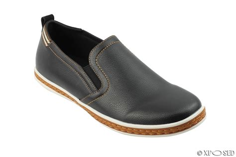 mens leather slip on sneakers mens faux leather smart casual sneakers slip on shoes
