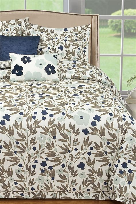 thro comforter thro home misty floral printed 5 piece full queen