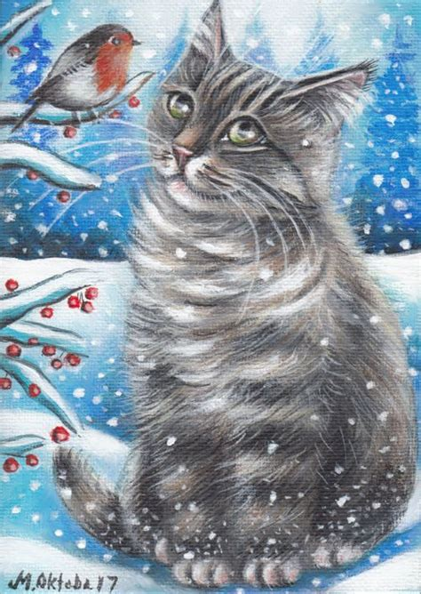 gray tabby cat kitten robin bird winter snow original 5x7