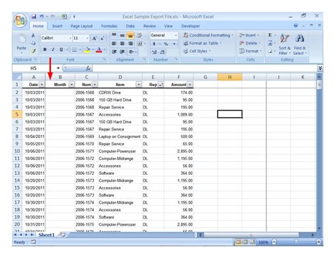 Spreadsheet Info spreadsheet sle data with month column added