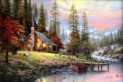 1449482910 thomas kinkade peaceful retreat with peaceful retreat 24x36 i p framed limited thomas kinkade