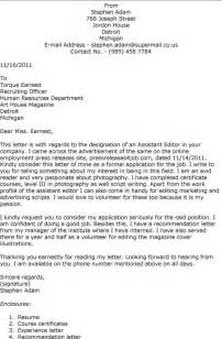 Cover Letter To Journal Editor Sle by Cover Letter To The Editor Template Cover Letter To The