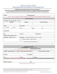 personal data form template best photos of employee data form template employee