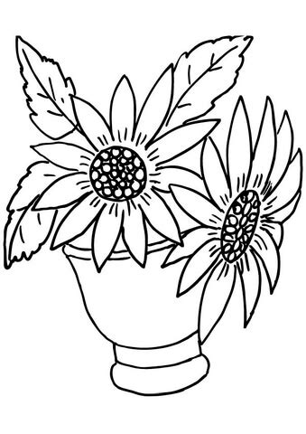 coloring page of vase with sunflowers vase with sunflowers coloring page free printable