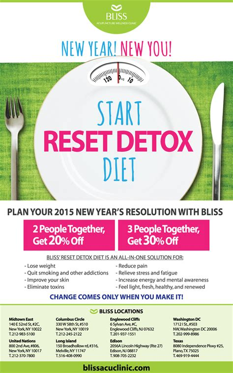 Reset Detox Diet by Reset Detox Diet Promo 2015 Bliss Acupuncture Clinic