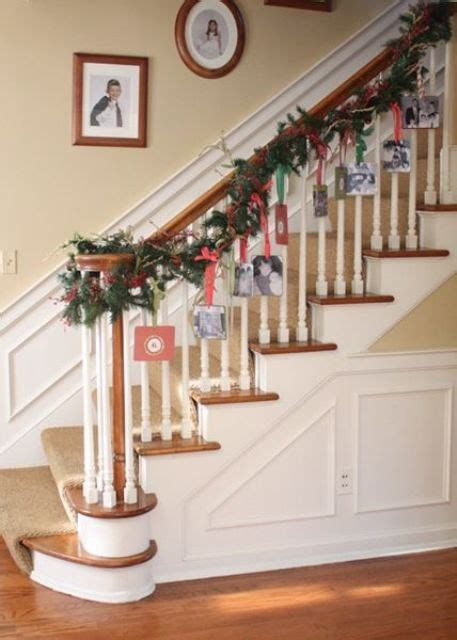 banister garland hangers 44 best christmas card display ideas digsdigs
