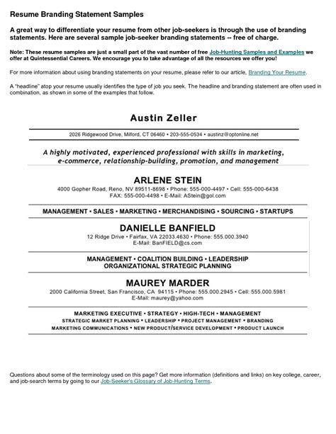 resume branding statement exles resume personal statement sle best template collection