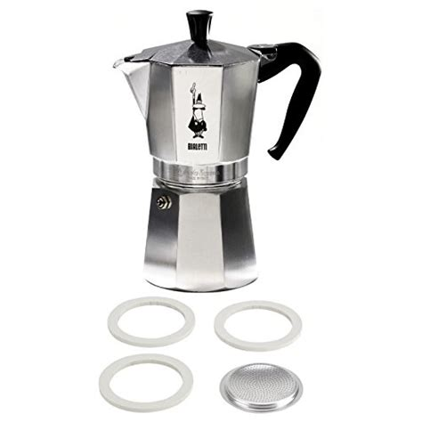 bialetti moka express aluminum 9 cup stove top espresso maker with replacement filter and