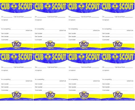 cub scout advancement card templates packmaster 25 best ideas about pack meeting on cub