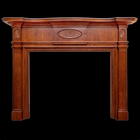 classic cherry wood mantel for fireplace with carving