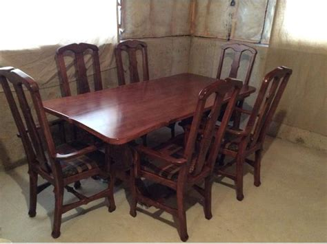 custom dining room table with 6 captain chairs