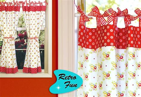 Vintage Kitchen Curtains Retro Kitchen Curtains With Gingham Bows Sew4home
