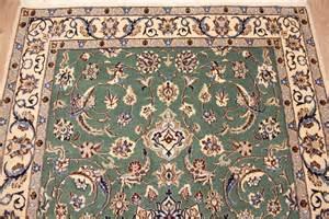 perser teppich perser teppich nain 9la mit seide 212x128 cm gr 252 n ebay