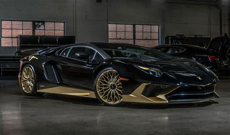 lamborghini gold and this black and gold lamborghini aventador sv coupe is one