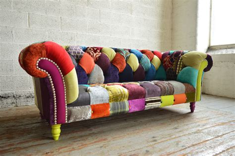 walton multicolured patchwork chesterfield sofa modern