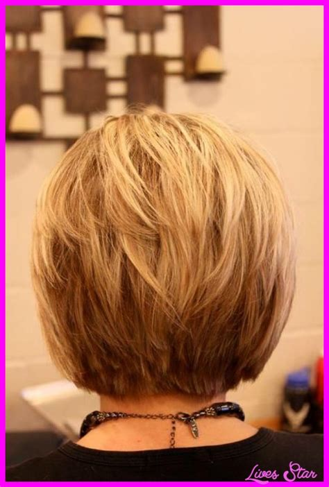 layered stack bob back view of short hairstyles stacked livesstar com