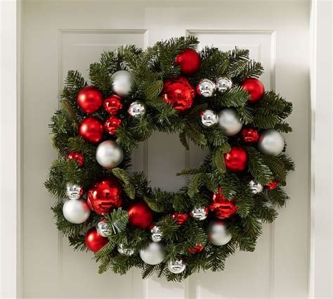 indoor outdoor ornament pine wreath red silver pottery