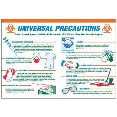 universal precautions workplace safety wallchart   seton