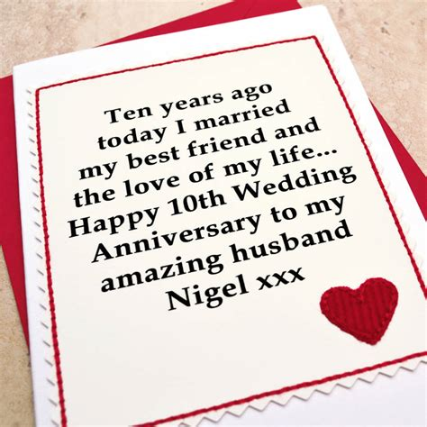 10th Wedding Anniversary Card Husband by Personalised 10th Wedding Anniversary Card By Arnott