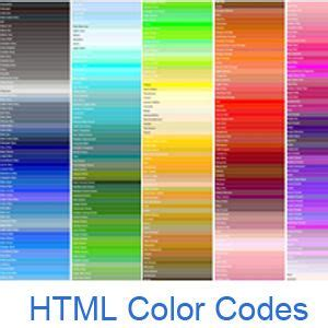 hexadecimal color codes html color codes color names and color chart with all