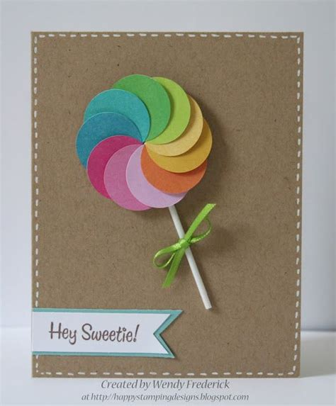 circle punches card adorable lollipop card using a circle punch and colorful