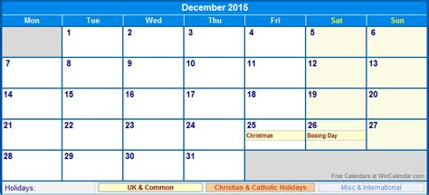 printable december 2015 calendar uk december 2015 uk calendar with holidays for printing