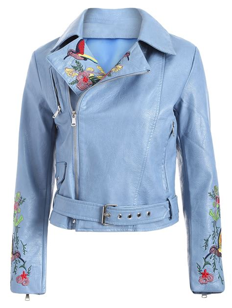 Light Jaket Outerwear Wanita Jaket Bomber s zipper fly bird embroidered faux leather jacket in light blue s sammydress