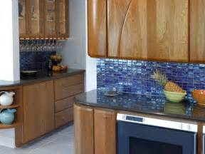 blue glass tile kitchen backsplash