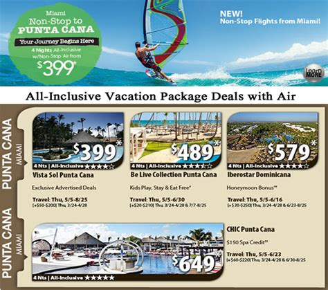 all inclusive flight and hotel packages to punta cana
