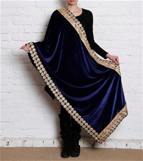 Fashmina Velvet buy blue semi velvet shawl