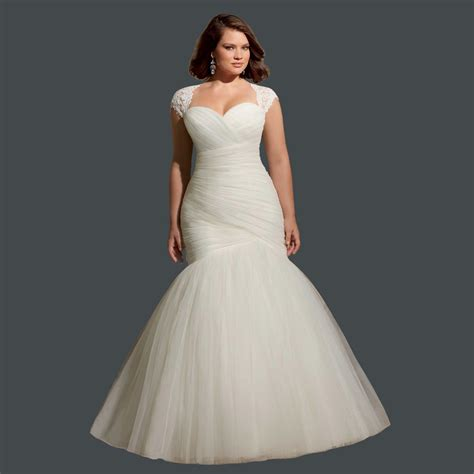 mermaid wedding dresses plus size cheap pleated bridal gown with lace plus size mermaid lace
