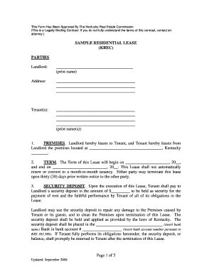blank lease agreement ky ky lease fill online printable fillable blank pdffiller