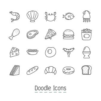 doodle food icons vector food icon vectors photos and psd files free